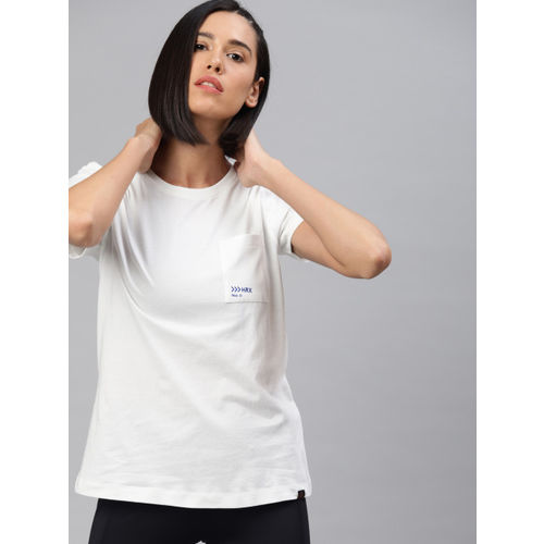 HRX by Hrithik Roshan Women White Printed Round Neck Outdoor Regular fit T-shirt