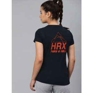 HRX by Hrithik Roshan Women Black Printed Round Neck Outdoor Regular fit T-shirt