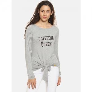 Campus Sutra Women Grey Printed Round Neck T-shirt
