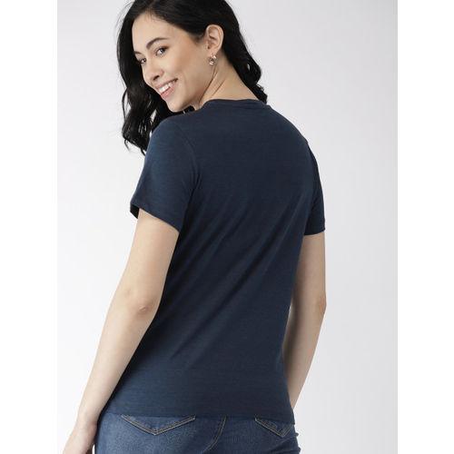 Mast & Harbour Women Navy Printed Round Neck T-shirt