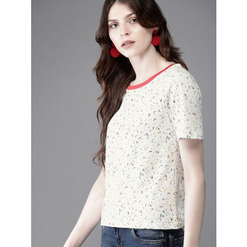 Moda Rapido Women Off-White Printed Round Neck T-shirt