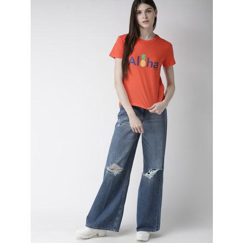 FOREVER 21 Women Orange Printed Round Neck T-shirt