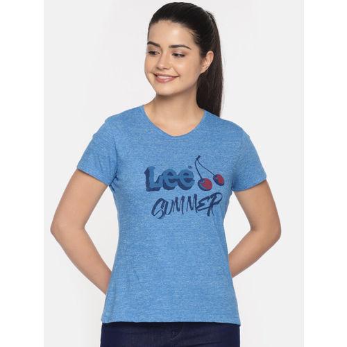 Lee Women Blue Printed Round Neck T-shirt