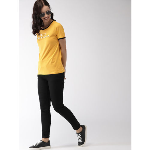 Mast & Harbour Mustard Yellow Printed Round Neck T-shirt