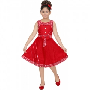 Anjali Indi Red Cotton Midi/Knee Length Party Dress
