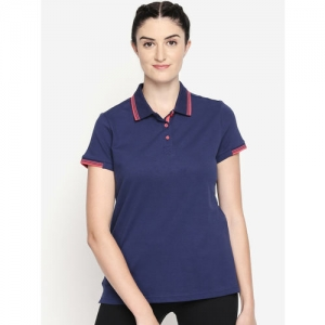 Ajile by Pantaloons Navy Blue Solid Polo Collar T-shirt