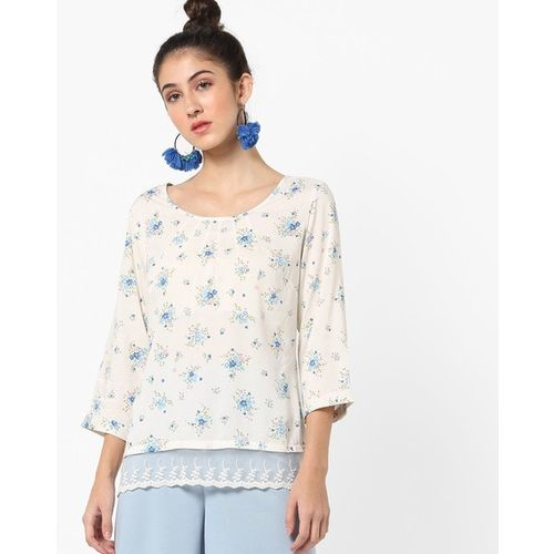 FIG Floral Print Top with Lace Insert