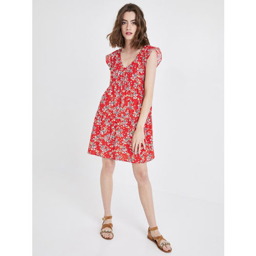 promod Women Red Printed A-Line Dress