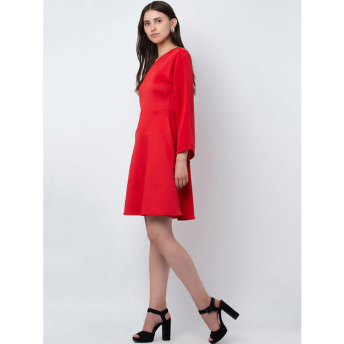 DODO & MOA Women Red Fit and Flare Dress