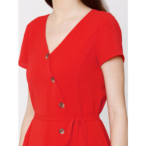 Vero Moda Women Red Solid Fit & Flare Dress