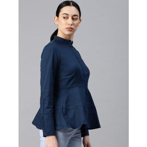 Van Heusen Woman Women Navy Blue Regular Fit Solid Formal Shirt