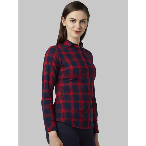 Park Avenue Women Blue Regular Fit Checked Casual Shirt
