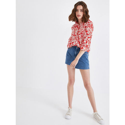 promod Women Red & White Regular Fit Printed Casual Shirt