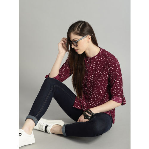 Roadster Women Burgundy Regular Fit Printed Casual Shirt