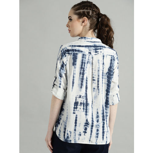 Roadster Women White & Navy Blue Regular Fit Dyed Casual Shirt