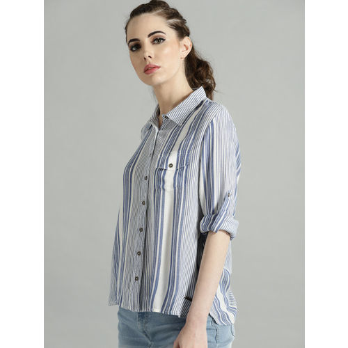 Roadster Women White & Blue Striped Regular Fit Casual Shirt