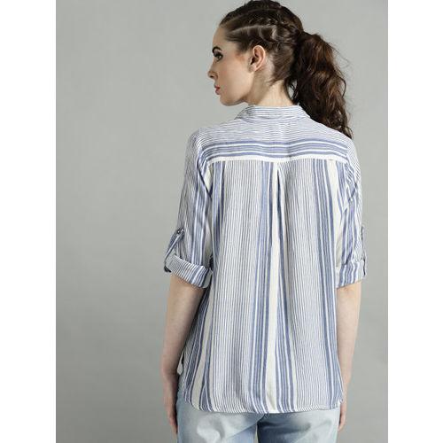 Roadster Women White & Blue Striped Regular Fit Casual Shirt