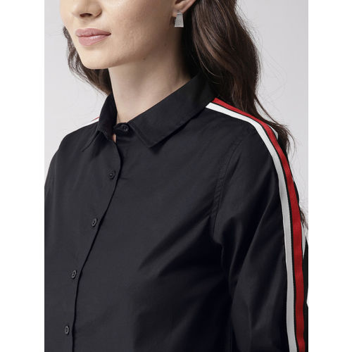 Mast & Harbour Women Black Solid Casual Shirt