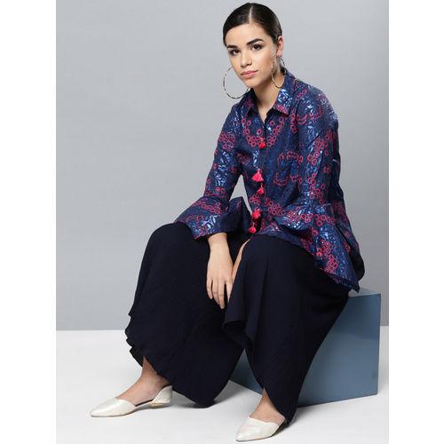 Label Ritu Kumar Women Blue & Coral Pink Regular Fit Printed Party Shirt