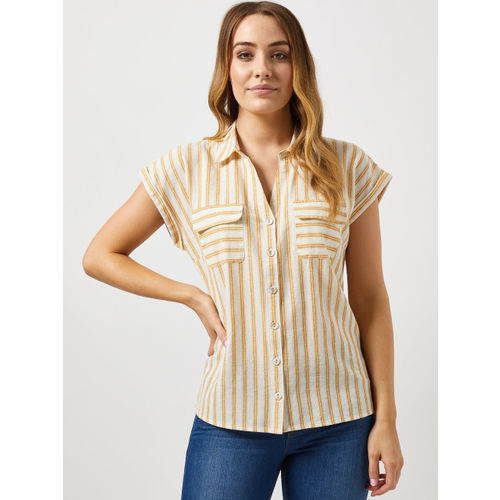 DOROTHY PERKINS Women Off-White & Mustard Yellow Striped Casual Shirt