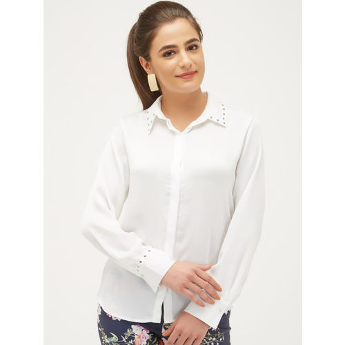 bebe Women White Regular Fit Solid Casual Shirt