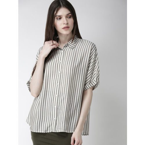 FOREVER 21 Women White & Olive Green Regular Fit Striped Casual Shirt
