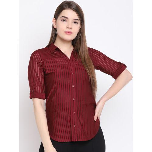 Texco Women Burgundy Regular Fit Striped Casual Shirt