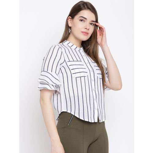 Texco Women White & Blue Regular Fit Striped Casual Shirt