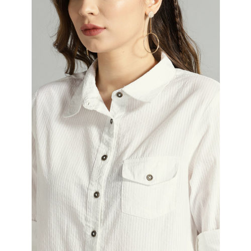 Roadster Women White Regular Fit Self-Striped Casual Shirt