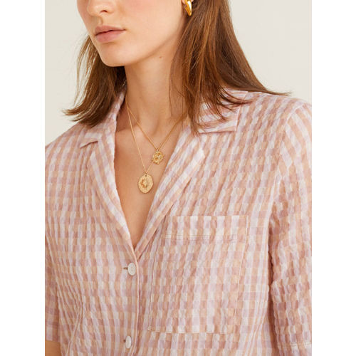 MANGO Women Peach-Coloured & Pink Boxy Fit Checked Casual Shirt