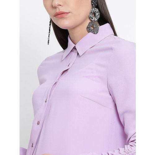 Kazo Women Lavender Regular Fit Solid Casual Shirt