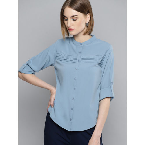 Marie Claire Women Blue Regular Fit Solid Casual Shirt