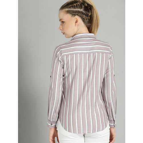 Roadster Women Taupe & White Regular Fit Striped Casual Shirt