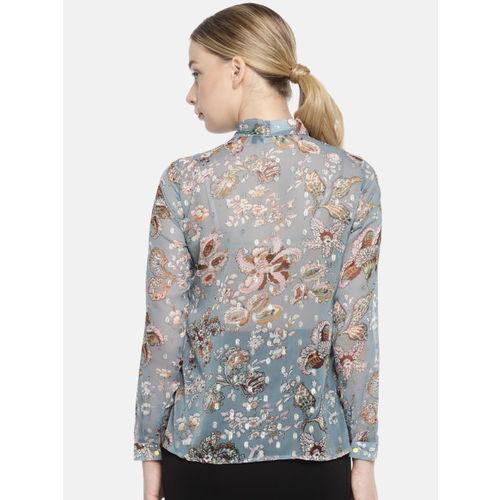 Van Heusen Woman Blue Regular Fit Printed Causal Shirt