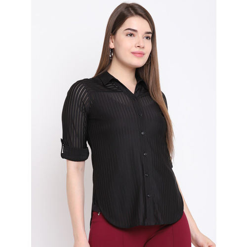Texco Women Black Regular Fit Striped Casual Shirt