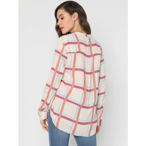 ONLY Women Cream-Coloured & Red Regular Fit Checked Casual Shirt