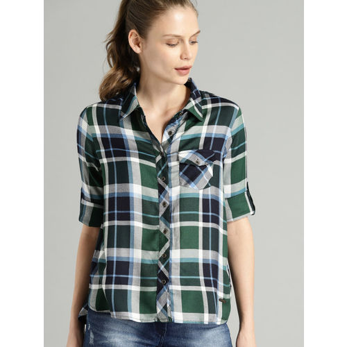 Roadster Women Green & White Regular Fit Checked Casual Shirt