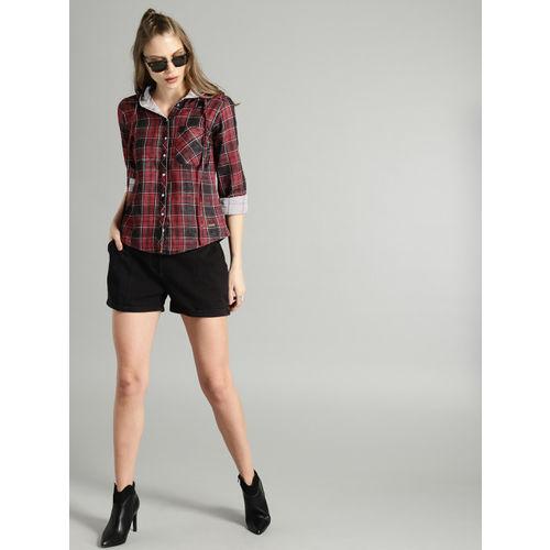 Roadster Women Black & Maroon Regular Fit Reversible Checked Casual Shirt