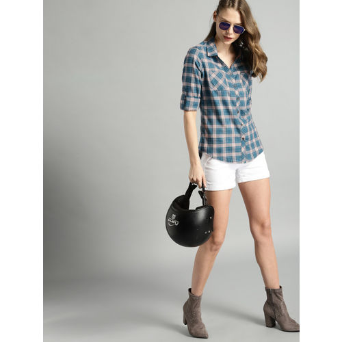 Roadster Women Teal Blue & Peach-Coloured Regular Fit Checked Casual Shirt