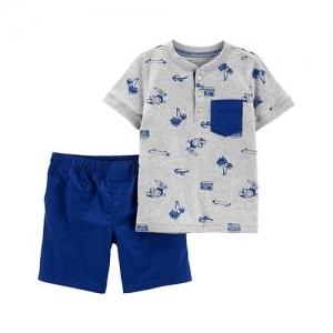 Carter's 2-Piece Beach Henley & Poplin Short Set - Grey Blue