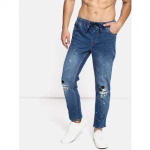 Kook N Keech Men Blue Slim Fit Jogger Mid-Rise Clean Look Printed Stretchable Jeans