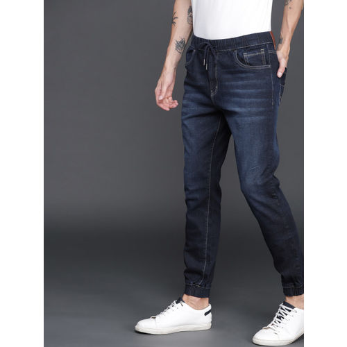 WROGN Men Blue Jogger Mid-Rise Clean Look Stretchable Jeans