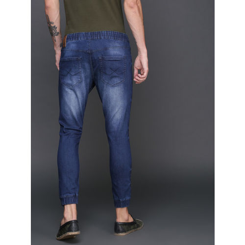 WROGN Men Blue Jogger Fit Mid-Rise Clean Look Stretchable Jeans