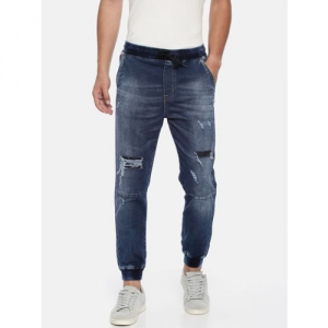 Lee Cooper Men Blue Mid-Rise Jogger Mildly Distressed Stretchable Jeans