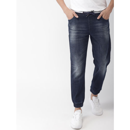 Mast & Harbour Men Blue Mid-Rise Clean Look Stretchable Cropped Jogger Jeans