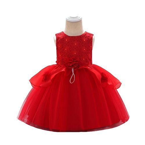 Awabox Red Sleeveless Applique Flower Dress