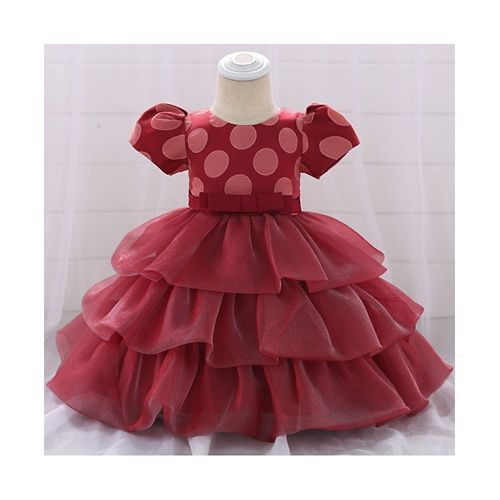 Awabox Maroon Half Sleeve Polka Dot Ruffle Dress