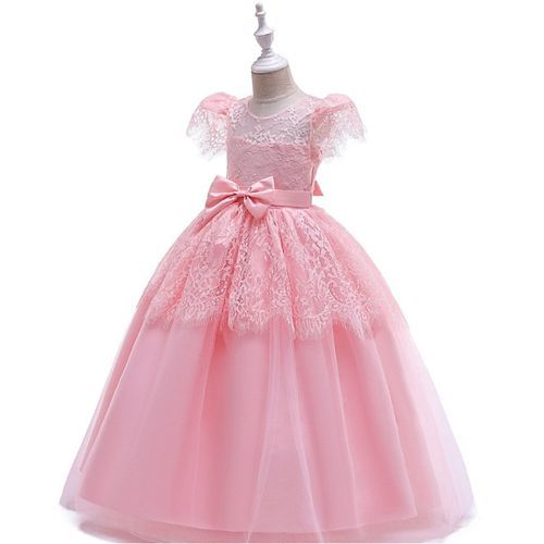 Pre Order - Awabox Cap Sleeves Lacey Dress With Bow Detailing - Pink