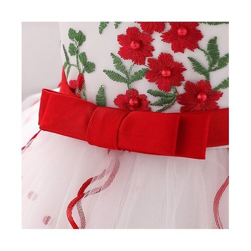 Pre Order - Awabox Floral Embroidered Sleeveless Dress - Red