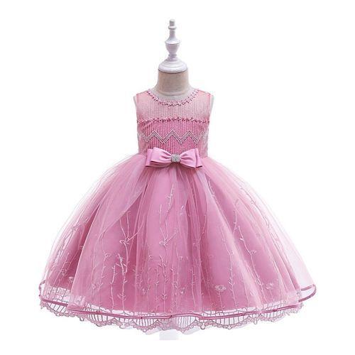 Pre Order - Awabox Sleeveless Self Design Bow Dress - Pink